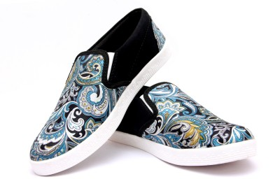 Loddx Fabric Printed White Canvas Shoe Casuals