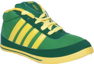 Histeria Suncity Green With Yellow Stripes Casual Shoes