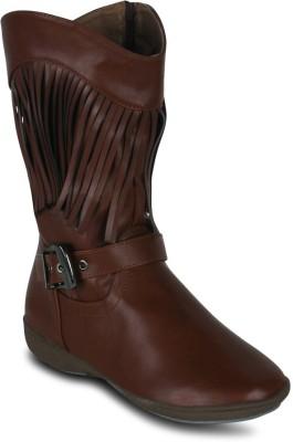 Kielz Ladies Suede Blue Flats Boots(Brown)