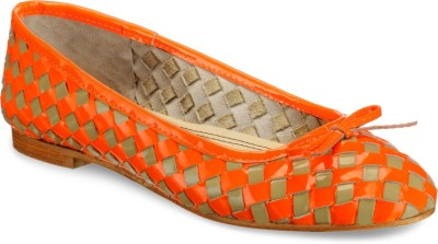 Hats Off Accessories Orange and Taupe Woven Leather Ballerinas Bellies