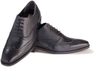 Walker Styleways Superior Black Leather Brogue Lace Up Shoes