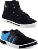 Chevit Blue and Black Sneakers (Blue, Bl...