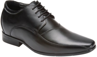 Elevato Black Fabio Formals Height Inreasing Shoes Lace Up