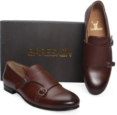 Bareskin Brown Double Monk Strap Hand Made Leather Slip-On Shoe Loafers(Brown)