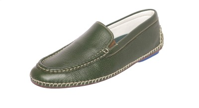 Styfort Green Genuine Leather Loafers