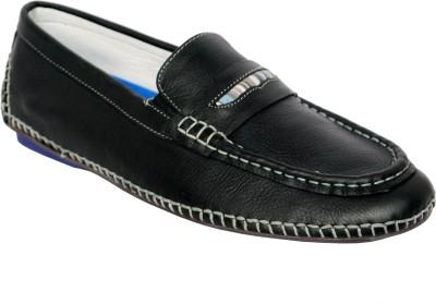 Styfort Black Genuine Leather Loafers
