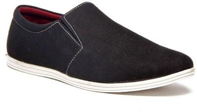 Zapatoz Black Canvas Loafers