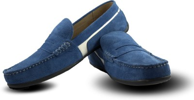 Blue Harpers Stylish Royal Blue Suede Loafers