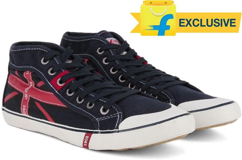Lee Cooper Men Mid Ankle Canvas SneakersNavy