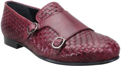 Bareskin Wine Leather Hand Weave Double Monk Strap Slip on Shoe For Men Loafers(Brown)
