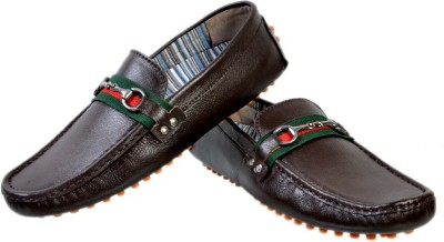 Hirels Brown Leather Driving Loafers