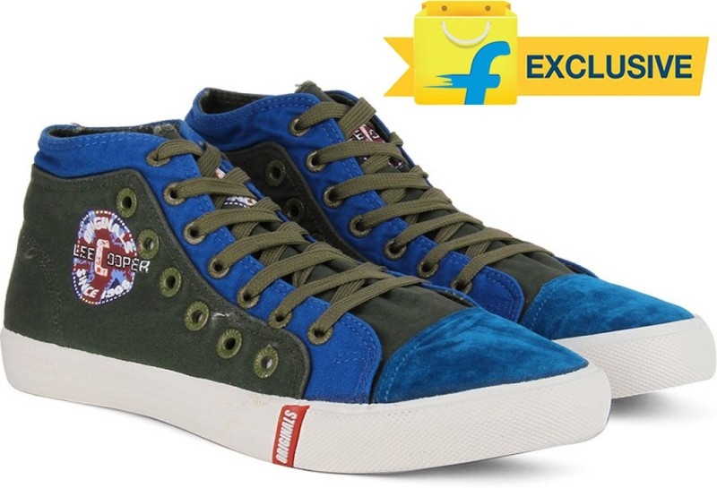 Lee Cooper Men Mid Ankle Canvas SneakersOlive