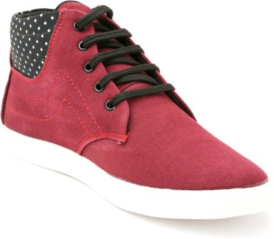 TheWhoop Mens High Ankle Maroon Casual Shoes Sneakers