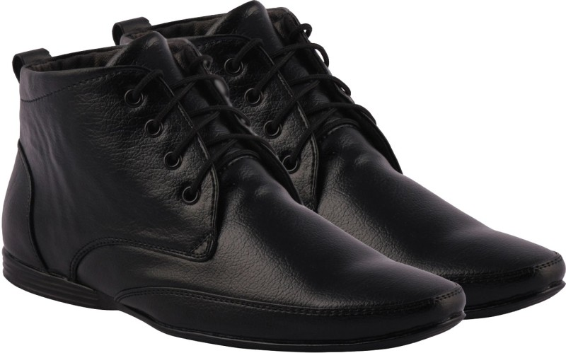 Kraasa High Ankle Lace Up Shoes(Black)