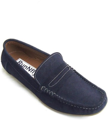 Runnfly Blue Leather Loafers