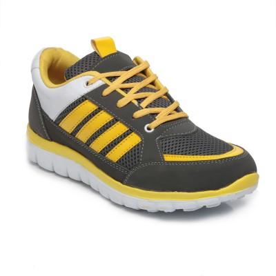 TEN Grey::Yellow Mesh Sports Shoes Running Shoes