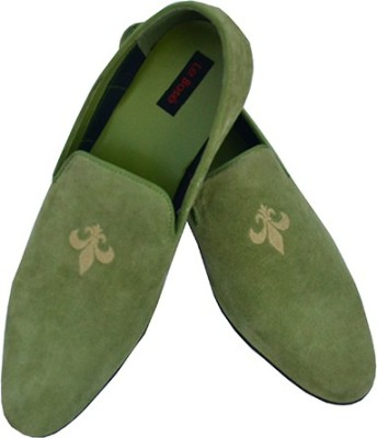 Lebose Men Green Suede Upper With Embroidery Loafers