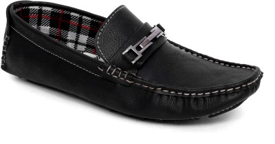 Woodlark Black Synthetic Leather Loafers
