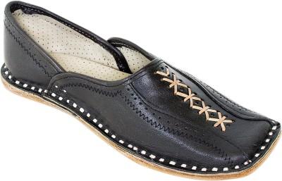 Pulpypapaya Black Out-Stitch Leather Half Shoe Jutis