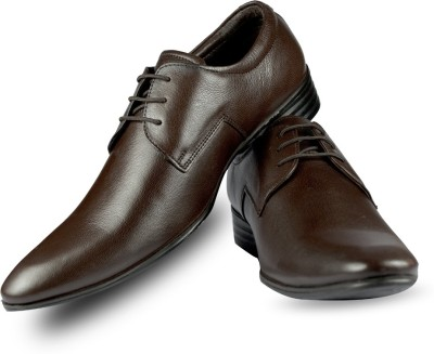 Blue Harpers Almond Toe Derby Brown Lace Up Shoes