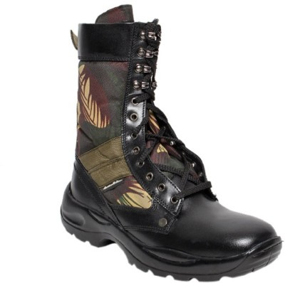 Massimo Italiano Tough Black Mid Calf Leather Boots