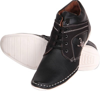Big Wing Black Ankle Length Casuals Shoes