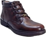 WBH Men Brown Leather Boots (Brown)
