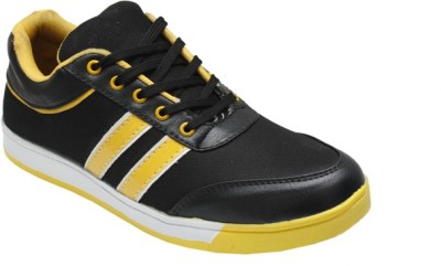Leather Like Black Yellow Canvas Shoes