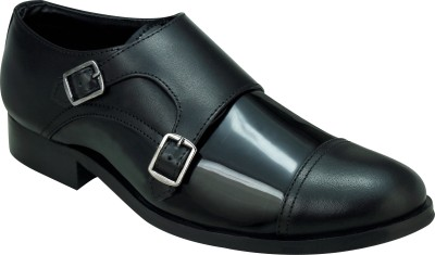 Entice BLACK PATENT DOUBLE MONK STAP Party Wear, Corporate Casuals