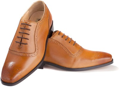Walker Styleways Exquisite Tan Leather Brogue Lace Up Shoes