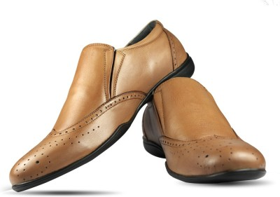 Blue Harpers Premium Brogue Tan Slip On Shoes