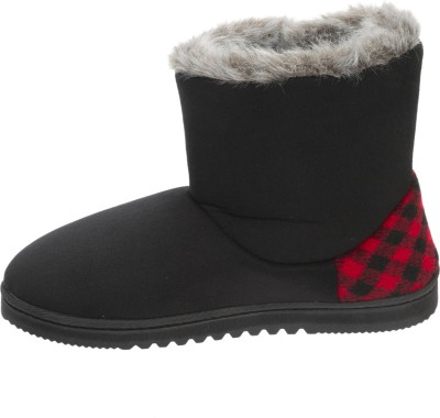 Dearfoams Dearfoams Chalet Microsuede Boot Slipper with Buttons Black Boots(Black)