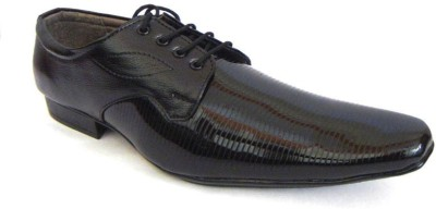 A Cheval Formal Shiny Black Lace Up Shoes