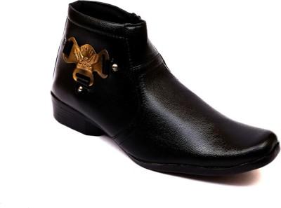 Skylark Black Synthetic Leather Ankle Party Wear