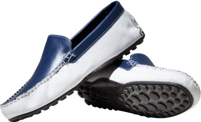 Zovi Blue and White Milled Leather Loafers