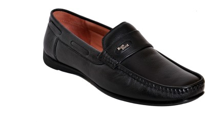 Runbird Super Stylish Black Leather Formal Loafers
