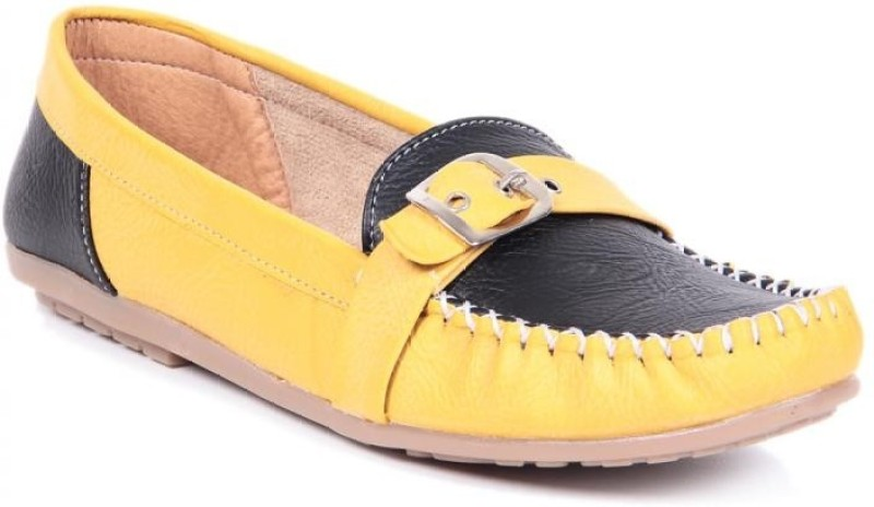 TEN Casual Yellow Black Loafers(Yellow, Black)