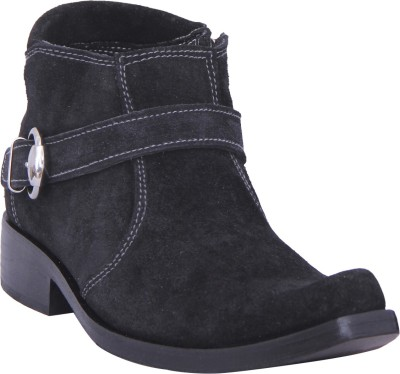 Walkaway Black Lather With Side Zip Boots