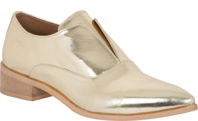 AQ Nichelle Classy Golden Flat Shoes Casuals