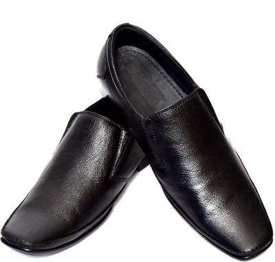 Adler Men,s Black Genuine Leather Formal Slip On Shoes