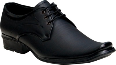 Oora Black With Fine Lining Design Lace Up Shoes