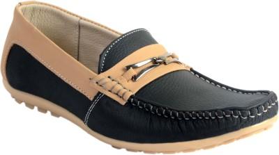 SKYLARK Black Leather Loafers