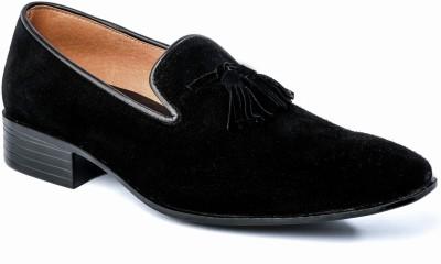 Nudo Slipon Black Suede Party Wear Shoes