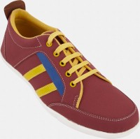 Zovi Red And Yellow Casual With Blue Stripe and Yellow Lace Sneakers(Red) best price on Flipkart @ Rs. 289