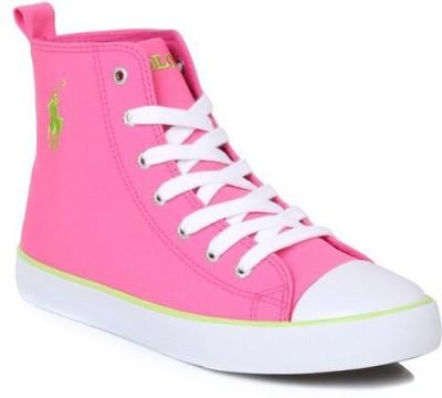 Ralph Lauren Lauren Junior Harbour Hi Hot Pink Trainers Casual Shoes