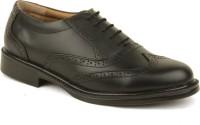 Metrogue Men'S Black Brogue Oxford Lace Up Shoes(Black)