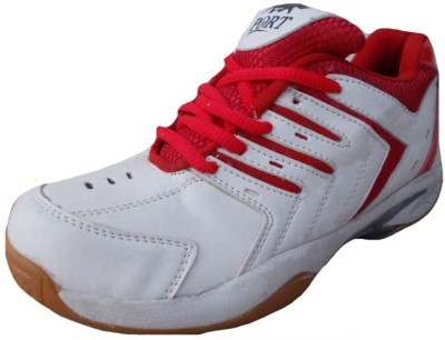 Port Super Spark Sports Badminton Shoes (White) Badminton Shoes(Red)