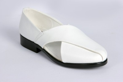 Panahi White Colour Synthetic Leather Men Ethnic Wear Slip On Jutis Party Wear