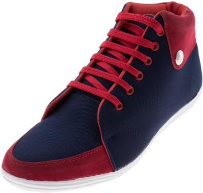 Zovi Navy Blue Canvas Mid Top with Contrast Red Boots