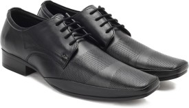 Lee Cooper Men Genuine Leather Lace Up Shoes(Black)